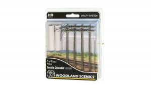 Utility Pre-Wired Poles - Double Crossbar - HO Scale