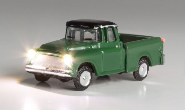 Lighted Vehicle, Green Pickup - N scale