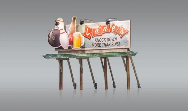 Billboard, Lanes Bowling & Bar - HO scale