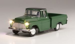 Lighted Vehicle, Green Pickup - HO scale