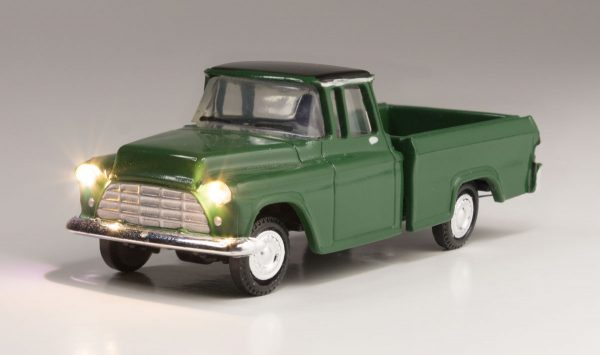 Lighted Vehicle - Green Pickup - HO scale